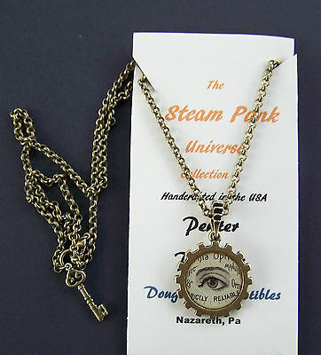 Steampunk Optical Open Eye Pendant Necklace Double Sided Wheel Handcrafted USA