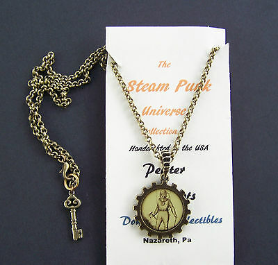 Steampunk Diver With Axe Pendant Necklace Double Sided Wheel/Cog Handcrafted USA