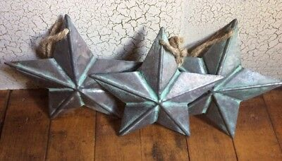 """3 ~ Galvanized/copper Looking W/patina Barn Star 5.5"""" 5 1/2"""" Primitive Country"""