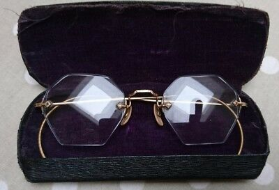 Vintage glasses complete with case - hexagonal lenses