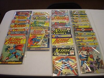 Lot of 26 Action Comics #413-460, 445-460 =full run Superman Bronze Age