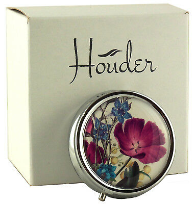 Cute Pill Box Small Day Travel Med Case Holder Daily Organizer Women Metal Round