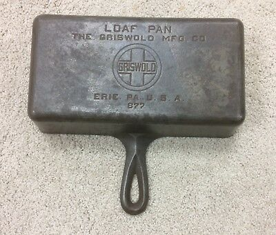 Griswold Loaf Pan. 877,   Cast Iron , Antique Cooking Gas Oil. Erie Pa. baking.