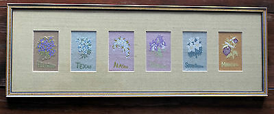 Vintage Embroidered Linen State Flowers framed in glass.