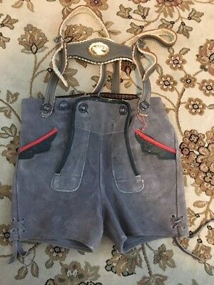 Boys Gray Lederhosen, Leather Trim, Stag Carving Sz 104?