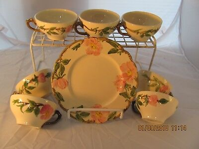 """Franciscan Desert Rose ... 7 cups only & 1 salad 8"""" plate...no saucers"""