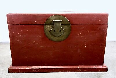 Antique Chinese Trunk 18th century  Painted Red Lacquer Vintage storage chest