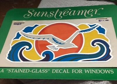 Vintage Sunstreamer Transparency Stained Glass Decal  Display Seagull Sun