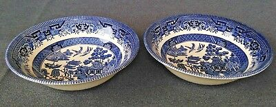 """Vintage Churchill Blue Willow 6"""" Fruit/Cereal Bowls Set of 2"""