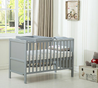 "MCC® Wooden Baby Cot Bed ""Orlando"" Top Changer Water repellent Mattress Grey"