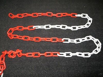 Plastic Barrier Chain Metal Link 8mm 12.5M Driveway Red White Security Metre 10