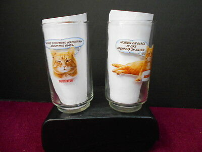 Morris The Cat 9-Lives Drinking Glasses Lot Of 2