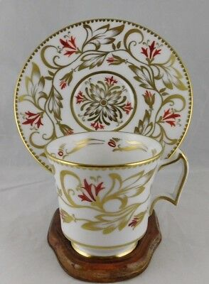 Royal Chelsea Hand painted Gold and Red Demitasse Cup and Saucer, Pattern#184-A