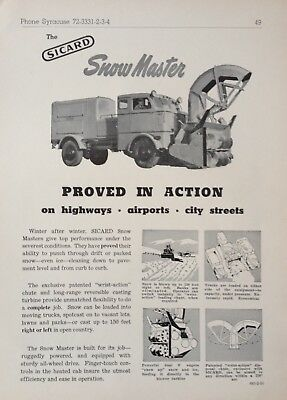 1951 Ad(Xb21)~The Sicard Snow Master For Highways, Streets And Airports