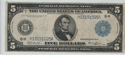 Fr. 873 1914 $5 St. Louis Federal Reserve Note VF H13191025A Rare Glass sign.