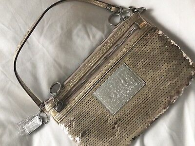 Coach Poppy Gold Sequined Clutch