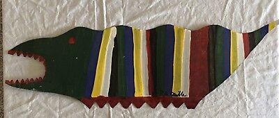 R.A. Miller Outsider Folk Artist Signed Metal Cutout Striped Alligator BRIGHT!