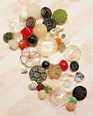 30 Vintage Mix-Lot Glass Buttons - Black, Clear, White, Red,  Anchor (Very Old)