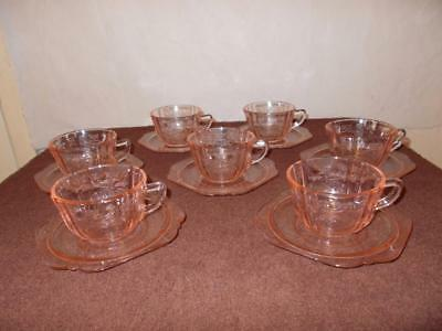 Lot/ 14 Pieces Federal Indiana Madrid Pink Recollection, 7-cups, 7-saucers