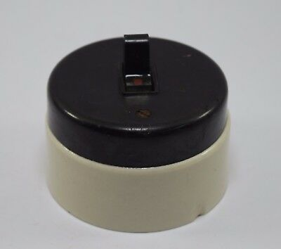Vintage Big Size Ceramic Black & White Electric Switch Industrial Used. i59-39