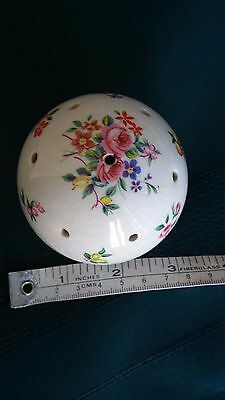 Vintage Ceramic Powder Talc Shaker White With Flowers England
