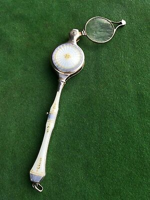 Fine Antique 19th Century Continental Silver & Enamel Lorgnette