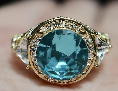 18kt Yellow Gold Plated Aquamarine Blue and Clear CZ Halo Filigree Cocktail Ring
