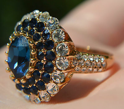 18kt Yellow Gold Plated Triple Sapphire Blue Color & Clear Halo Cocktail CZ Ring