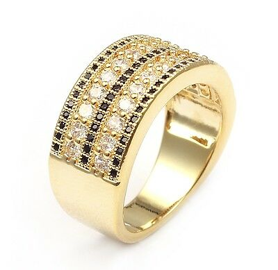 18kt Yellow Gold Plated Micro-Pave Black & Clear Wedding Band Engagement Ring