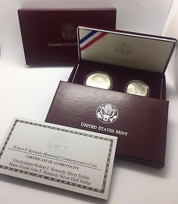 1998 S US MINT 2pc SILVER $1 & 50¢ KENNEDY COLLECTOR'S SET W/ BOX & COA
