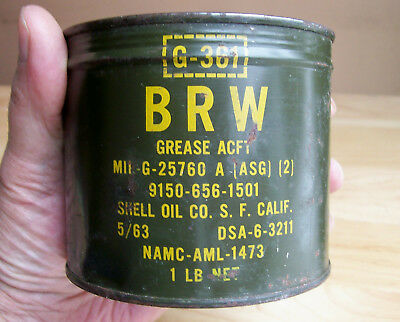 """1963 UNOPENED KEY-WIND """"SHELL OIL"""" MILITARY GREASE TIN CAN Vietnam War Era vtg"""