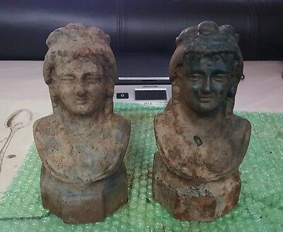 2 Rare Cast Iron Antique French Victorian Lady Bust Andiron Firedog Door Stopper