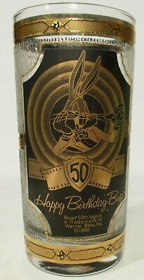 1990 Six Flags St Louis Bugs Bunny 50th Birthday 22K? Gold CULVER Glass Tumbler