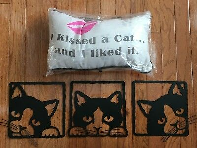 """I KISSED A CAT AND I LIKED IT"" Pillow - Cat Lover Pillow & Free Wall Hanging!"