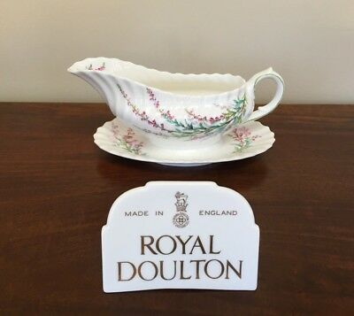 Royal Doulton BELL HEATHER SCALLOPED Gravy Boat with Attached Underplate
