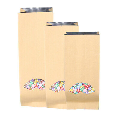 Variety of Sizes for 100 Flat Double-Sided Kraft Open Top Bags w/Front Window