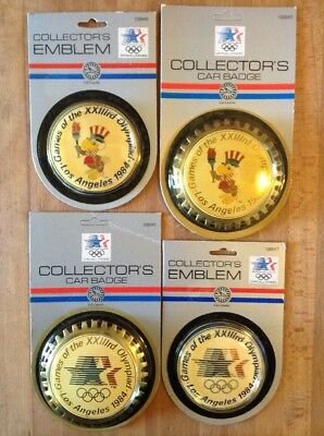 CAR BADGE Pair + Collector's EMBLEM Pair. VINTAGE ©1984 Olympiad Games OLYMPICS