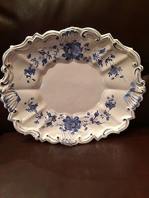 VINTAGE HAND PAINTED ITALIAN POTTERY Large PLATTER BLUE White PLATE Scalloped
