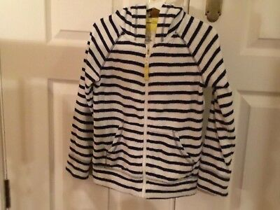 Mini Bowden striped, towelling zip up hoodie. 7-8yr