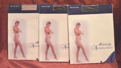 NEW 3 Pair HOLT Maternity Tights Sheer Pantyhose One Size Black Suntan (J11)
