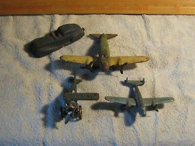 Antique 3 Toy Airplane 1 cast iron 1 pot metal 1 pressed steel & 1 rubber car