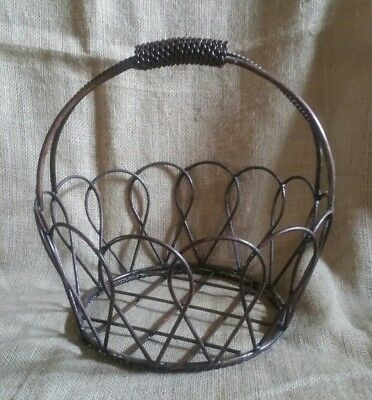 Vintage Heavy Duty LARGE Wrought Iron Basket w/ Rope Style Handle - Great Patina