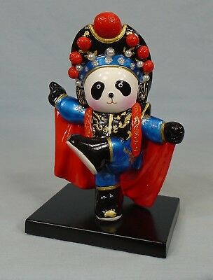 """Hand Painted Dancing Panda Bear Figurine In Red Cape & Black Hat Lacquer 5.25"""""""