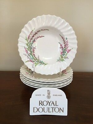 "Royal Doulton BELL HEATHER SCALLOPED 8 ¼""  Rim Soup Bowl ~ Set of 6  (lot 1)"