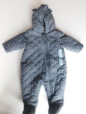 NWT Gap Baby Boy 1 Pc Quilted Chambray Bear Footed Lined Bodysuit 3-6M 6-12M New