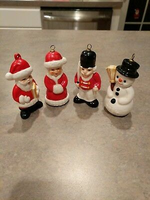 4 Vtg GOEBEL W Germany Christmas Ornaments Santa, Mrs. Clause, Nutcrackr, Snowmn