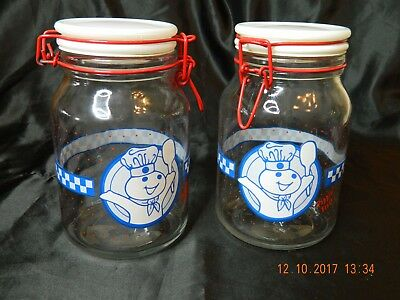 Collectible Pillsbury Doughboy Clear Glass Canister Jar - Lot of 2 - Great Shape