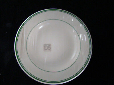 6 Buffalo Niagara China 3 Green Stripes Flat Soup Bowl New Unused Factory Sealed