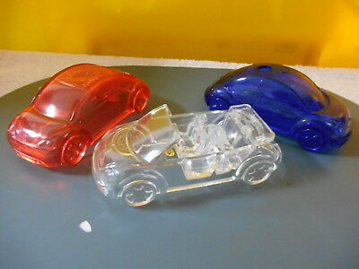 Lot Of 3 Different Rare Vw Volkswagen Beetle Auto Show Plastic Recycled Cars,nr