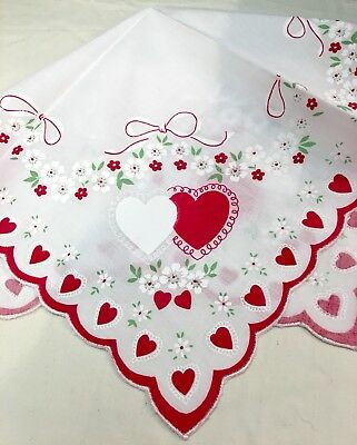 Sweet New Valentine Handkerchief - Hankie  - Red Lace Hearts & Bouquets!
